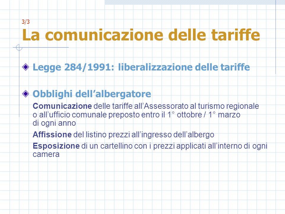 3/3 La comunicazione delle tariffe