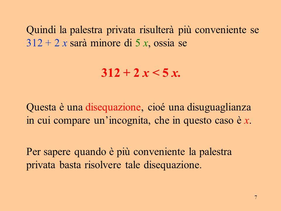 Quindi la palestra privata risulterà più conveniente se 312 + 2 x sarà minore di 5 x, ossia se