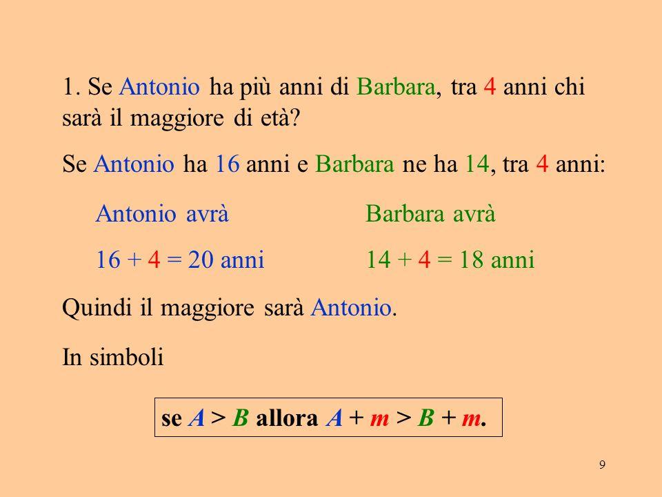 1. Se Antonio ha più anni di Barbara, tra 4 anni chi sarà il maggiore di età