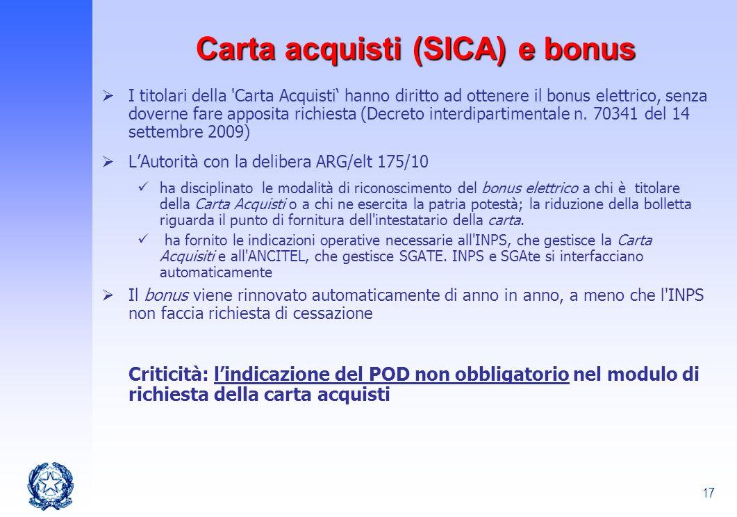 Carta acquisti (SICA) e bonus