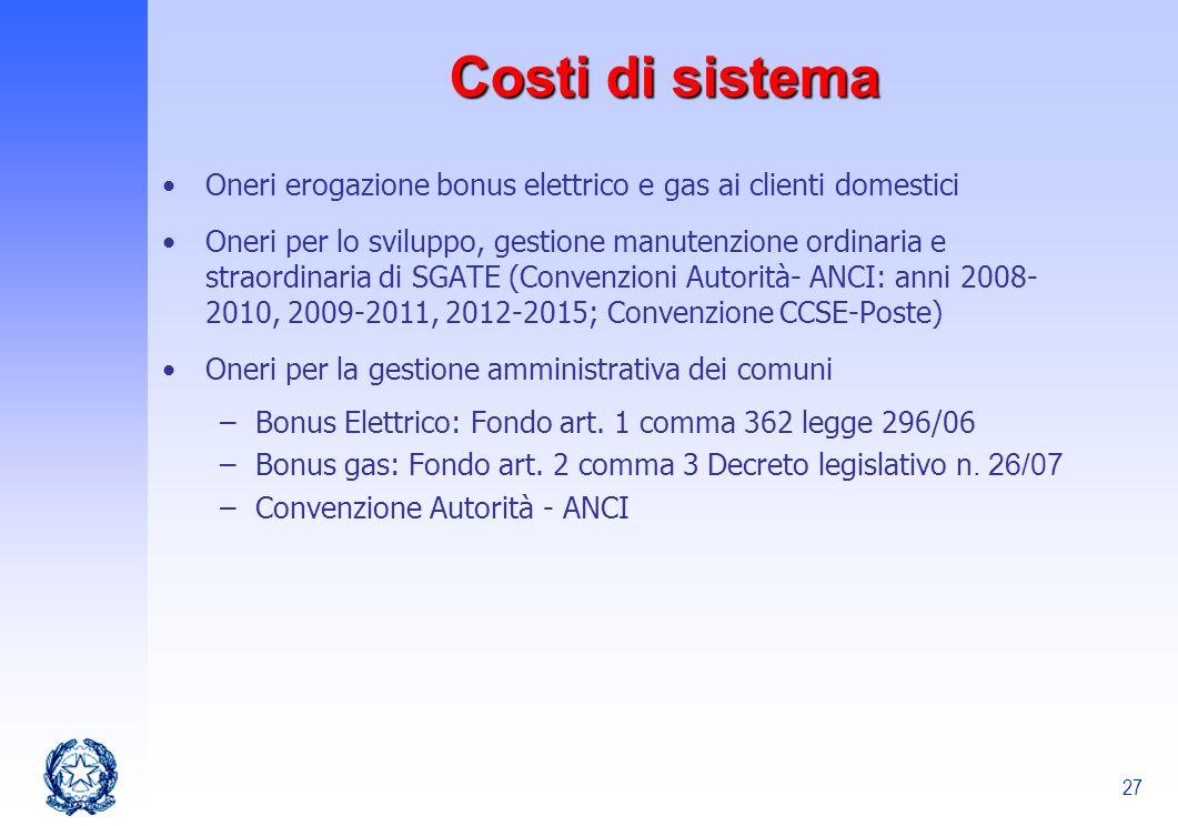 Costi di sistema Oneri erogazione bonus elettrico e gas ai clienti domestici.