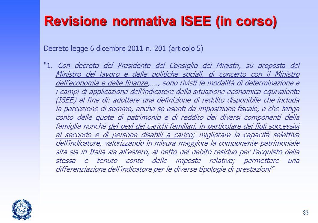 Revisione normativa ISEE (in corso)
