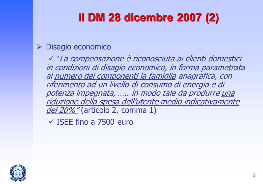 Il DM 28 dicembre 2007 (2) Disagio economico