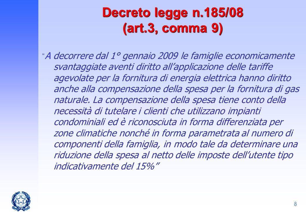 Decreto legge n.185/08 (art.3, comma 9)