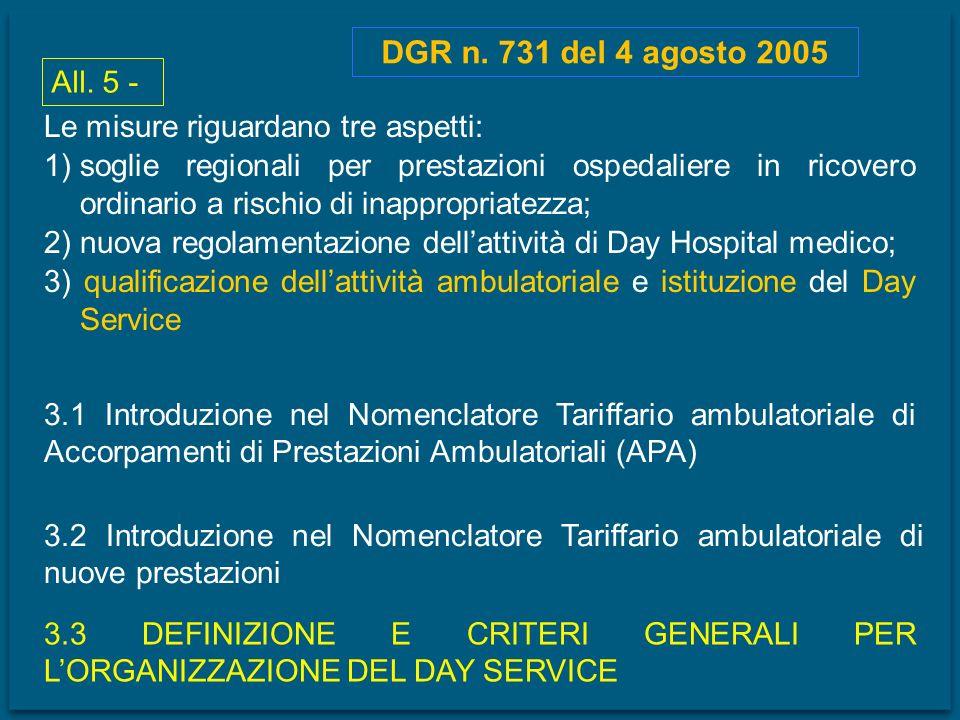 DGR n. 731 del 4 agosto 2005 All. 5 - Le misure riguardano tre aspetti: