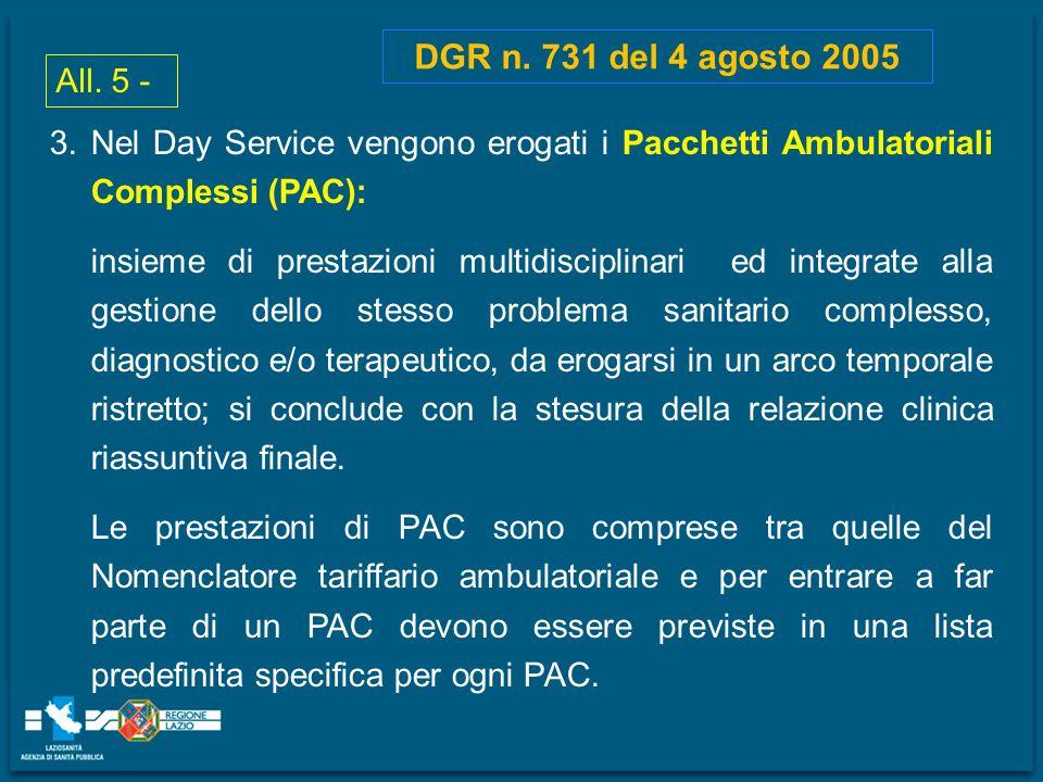 DGR n. 731 del 4 agosto 2005 All. 5 - Nel Day Service vengono erogati i Pacchetti Ambulatoriali Complessi (PAC):