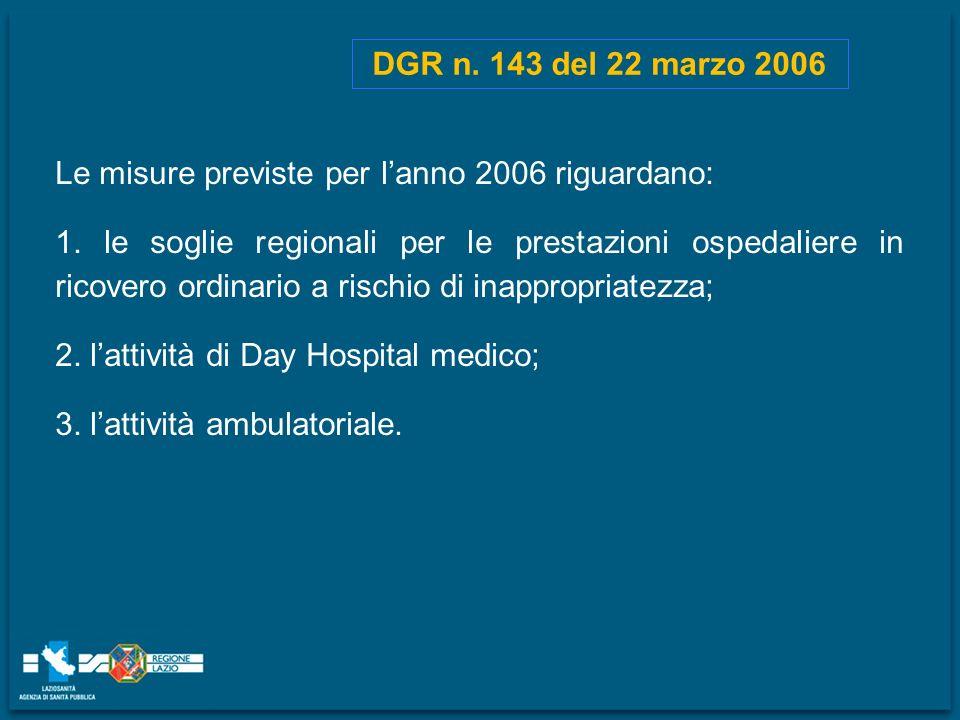 DGR n. 143 del 22 marzo 2006 Le misure previste per l'anno 2006 riguardano: