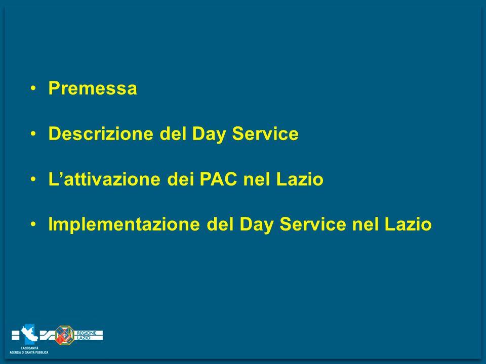 Premessa Descrizione del Day Service. L'attivazione dei PAC nel Lazio.