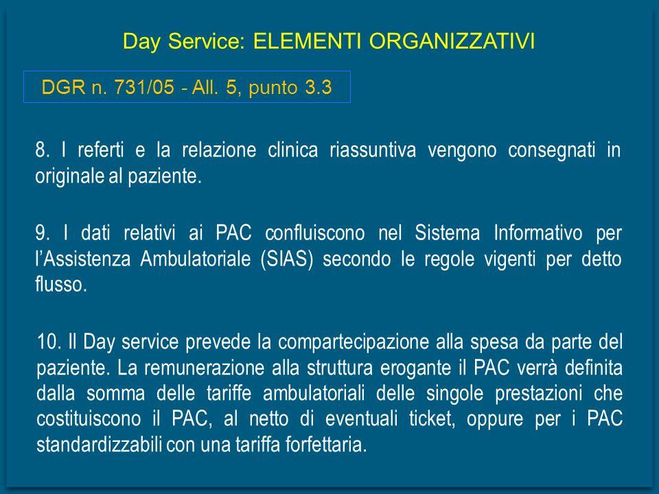 Day Service: ELEMENTI ORGANIZZATIVI