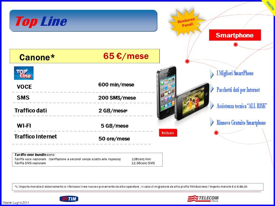 Top Line Canone* 65 €/mese Smartphone VOCE SMS Traffico dati WI-FI