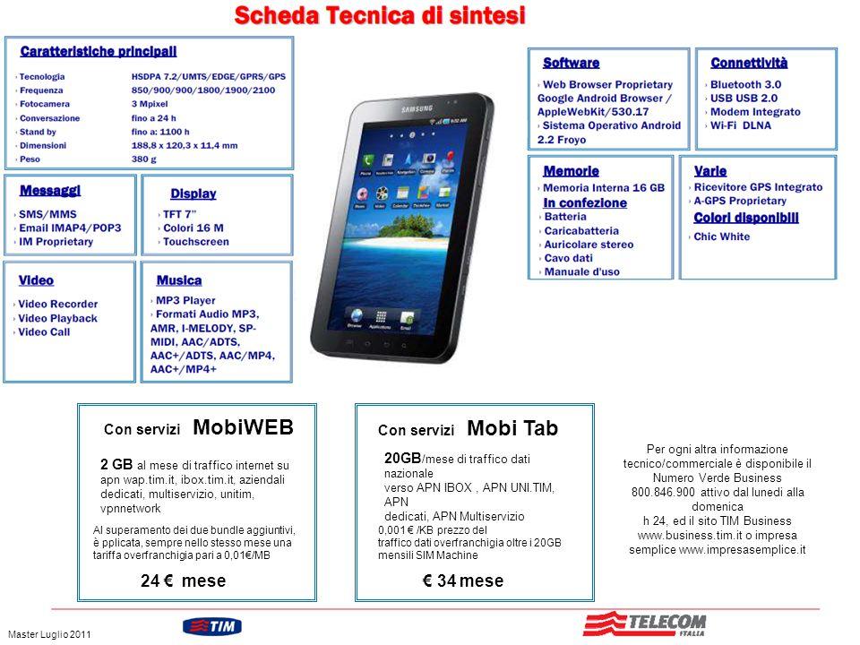 24 € mese € 34 mese Con servizi MobiWEB Con servizi Mobi Tab