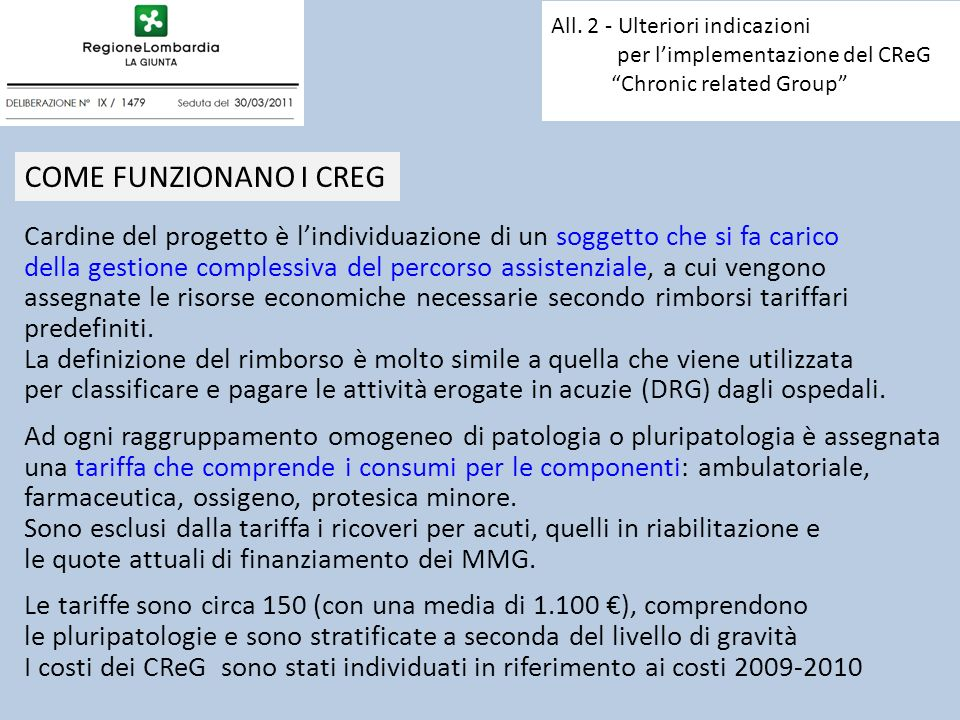 All. 2 - Ulteriori indicazioni per l'implementazione del CReG Chronic related Group