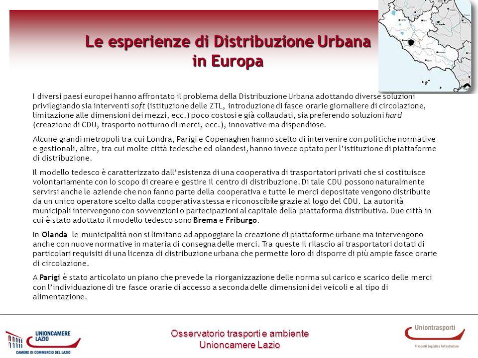 Le esperienze di Distribuzione Urbana