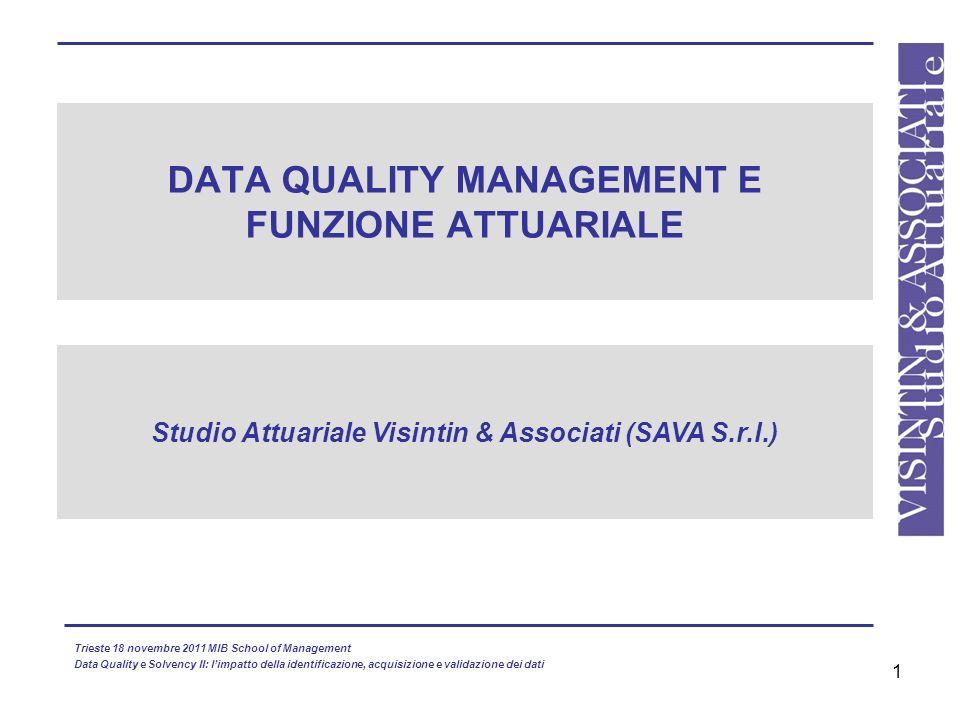 DATA QUALITY MANAGEMENT E FUNZIONE ATTUARIALE