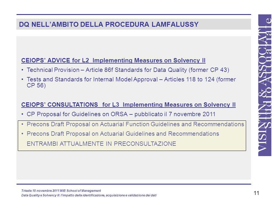 DQ NELL'AMBITO DELLA PROCEDURA LAMFALUSSY