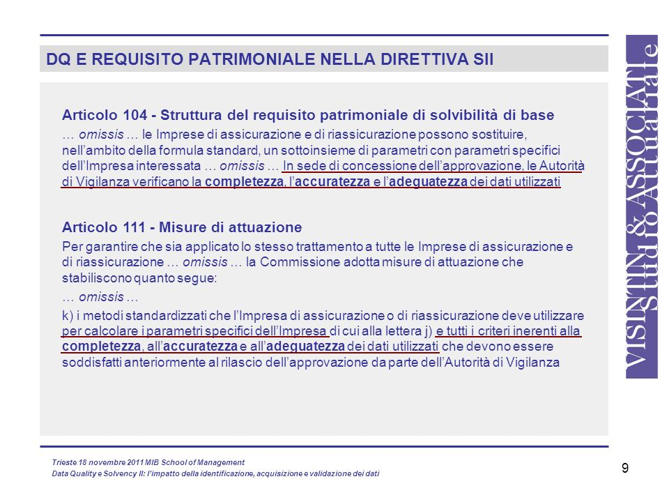 DQ E REQUISITO PATRIMONIALE NELLA DIRETTIVA SII