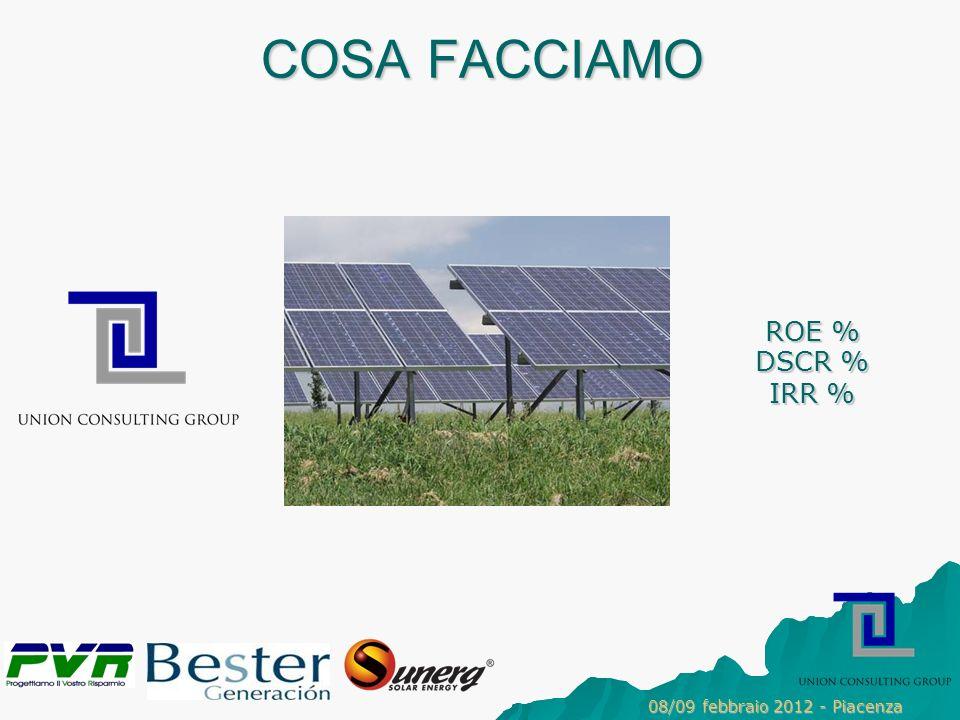 COSA FACCIAMO ROE % DSCR % IRR % 08/09 febbraio 2012 - Piacenza 3