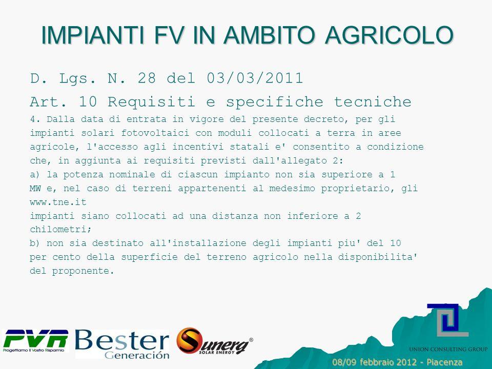 IMPIANTI FV IN AMBITO AGRICOLO