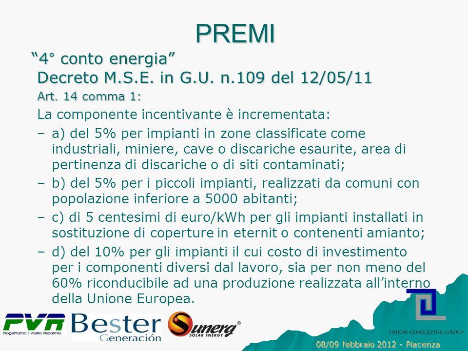 PREMI 4° conto energia Decreto M.S.E. in G.U. n.109 del 12/05/11