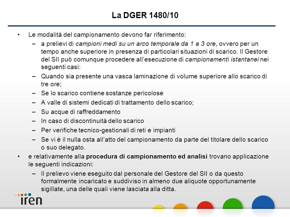 La DGER 1480/10 Le modalità del campionamento devono far riferimento: