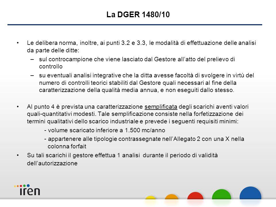 La DGER 1480/10 Le delibera norma, inoltre, ai punti 3.2 e 3.3, le modalità di effettuazione delle analisi da parte delle ditte: