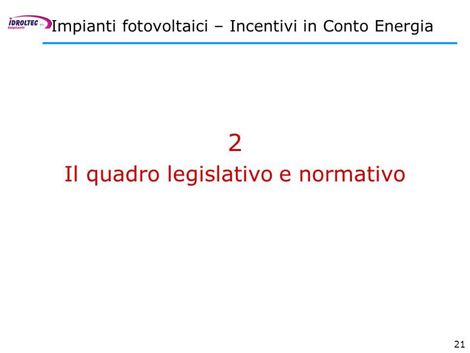 Il quadro legislativo e normativo