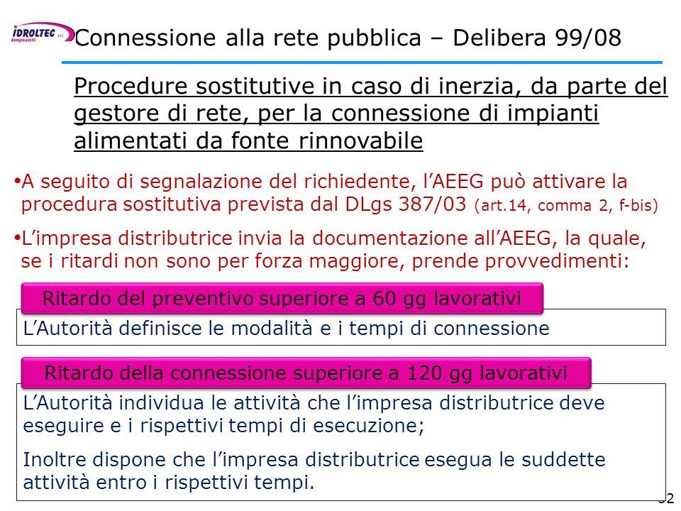 Connessione alla rete pubblica – Delibera 99/08