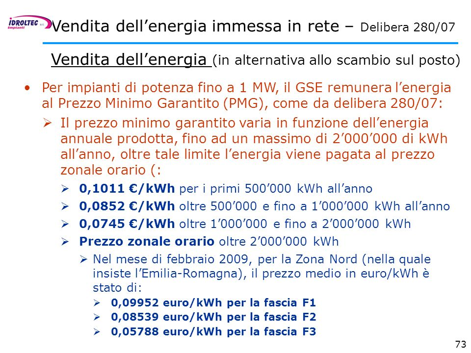Vendita dell'energia immessa in rete – Delibera 280/07