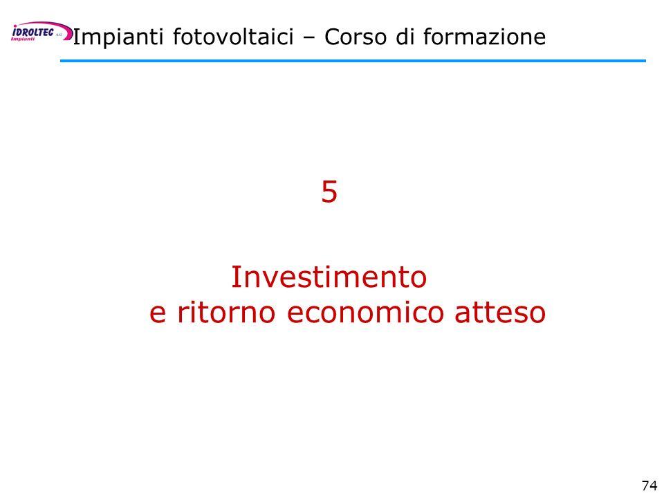 Investimento e ritorno economico atteso