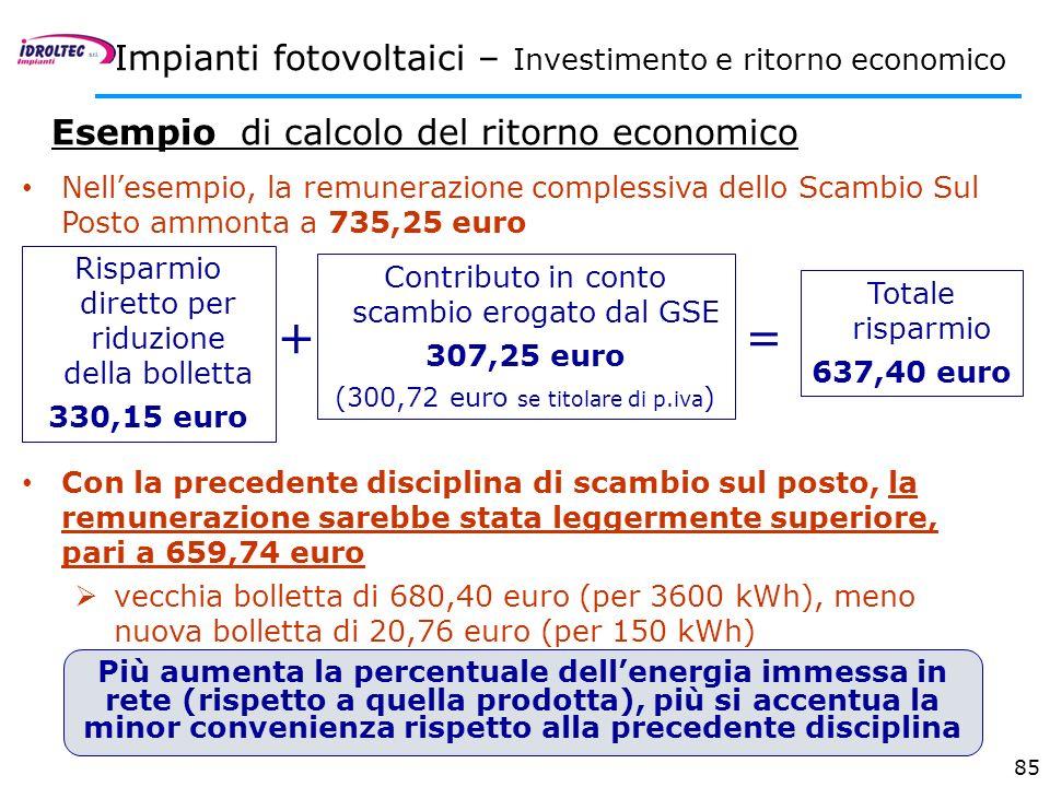 + = Impianti fotovoltaici – Investimento e ritorno economico