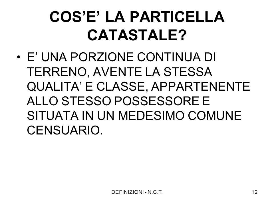 COS'E' LA PARTICELLA CATASTALE