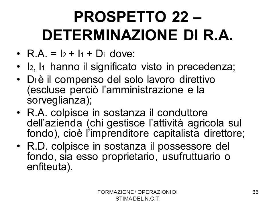 PROSPETTO 22 – DETERMINAZIONE DI R.A.