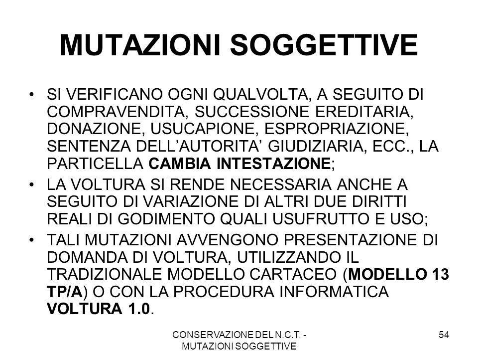 CONSERVAZIONE DEL N.C.T. - MUTAZIONI SOGGETTIVE