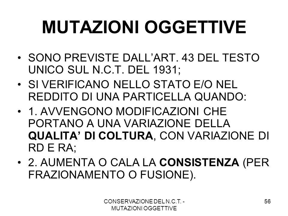 CONSERVAZIONE DEL N.C.T. - MUTAZIONI OGGETTIVE
