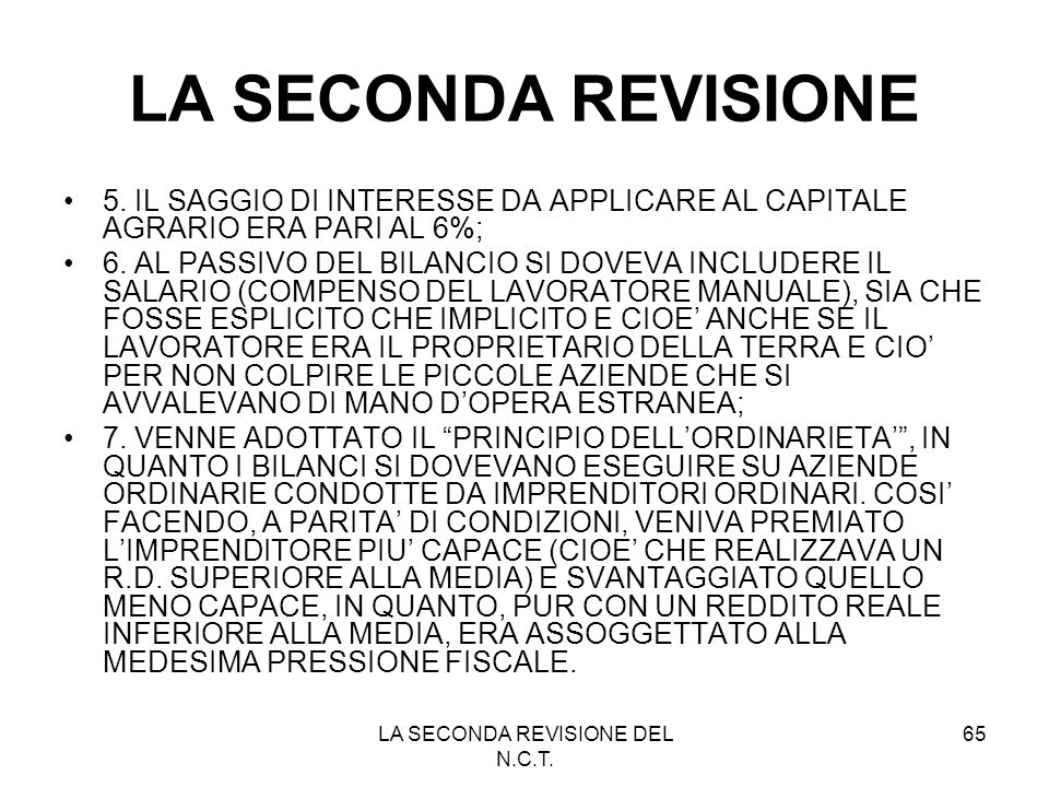 LA SECONDA REVISIONE DEL N.C.T.