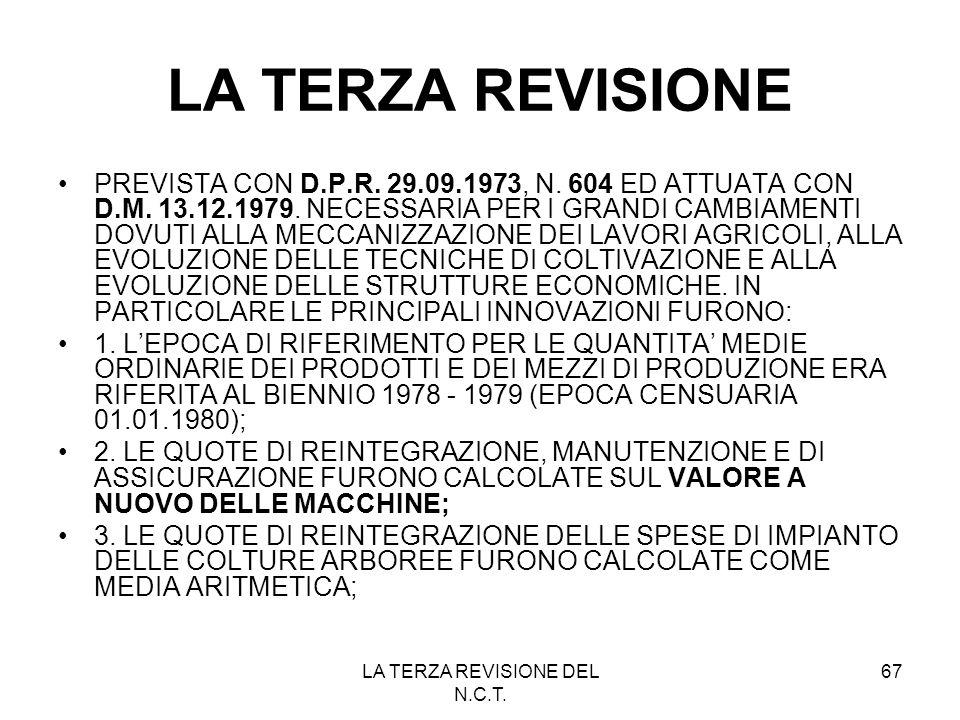 LA TERZA REVISIONE DEL N.C.T.