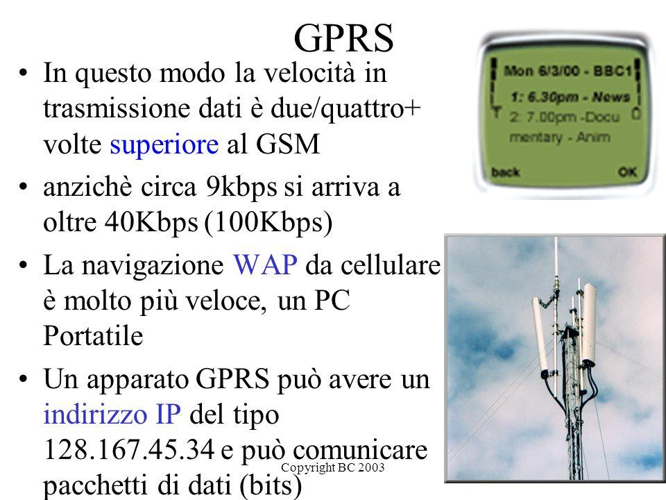 GPRS In questo modo la velocità in trasmissione dati è due/quattro+ volte superiore al GSM. anzichè circa 9kbps si arriva a oltre 40Kbps (100Kbps)