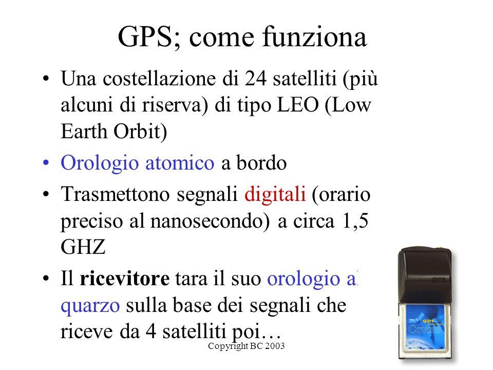 GPS; come funziona Una costellazione di 24 satelliti (più alcuni di riserva) di tipo LEO (Low Earth Orbit)