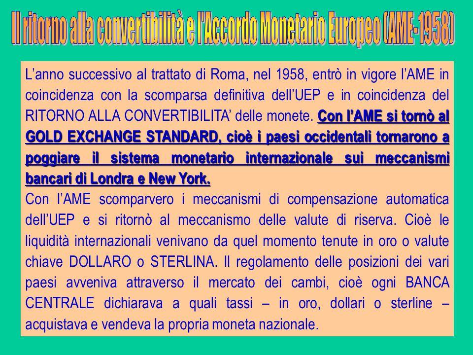 Il ritorno alla convertibilità e l Accordo Monetario Europeo (AME-1958)