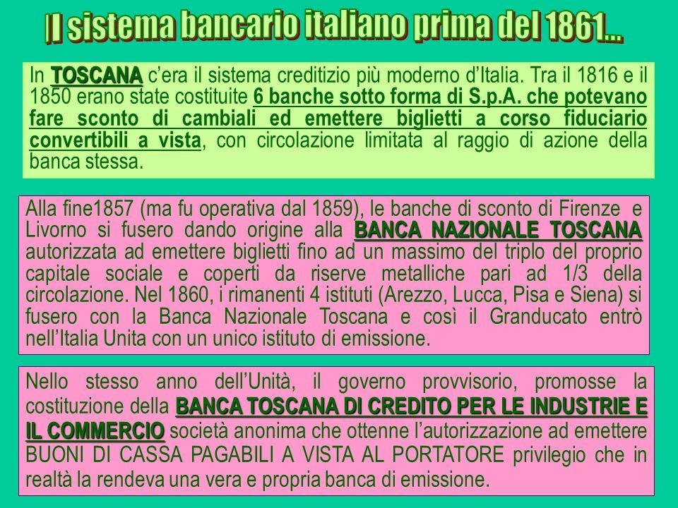 Il sistema bancario italiano prima del 1861...