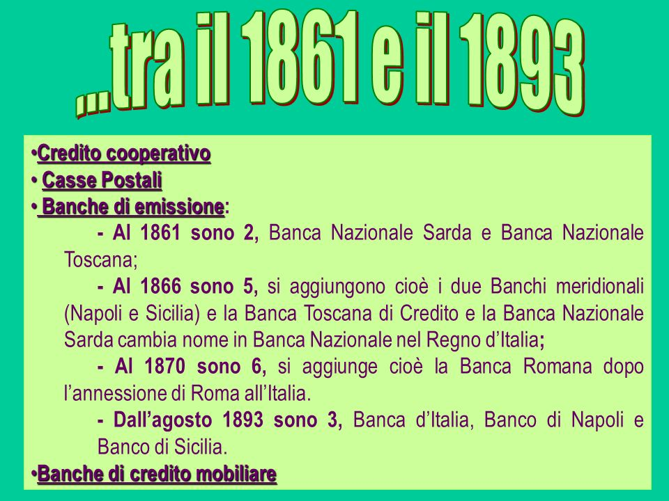 ...tra il 1861 e il 1893 Credito cooperativo Casse Postali