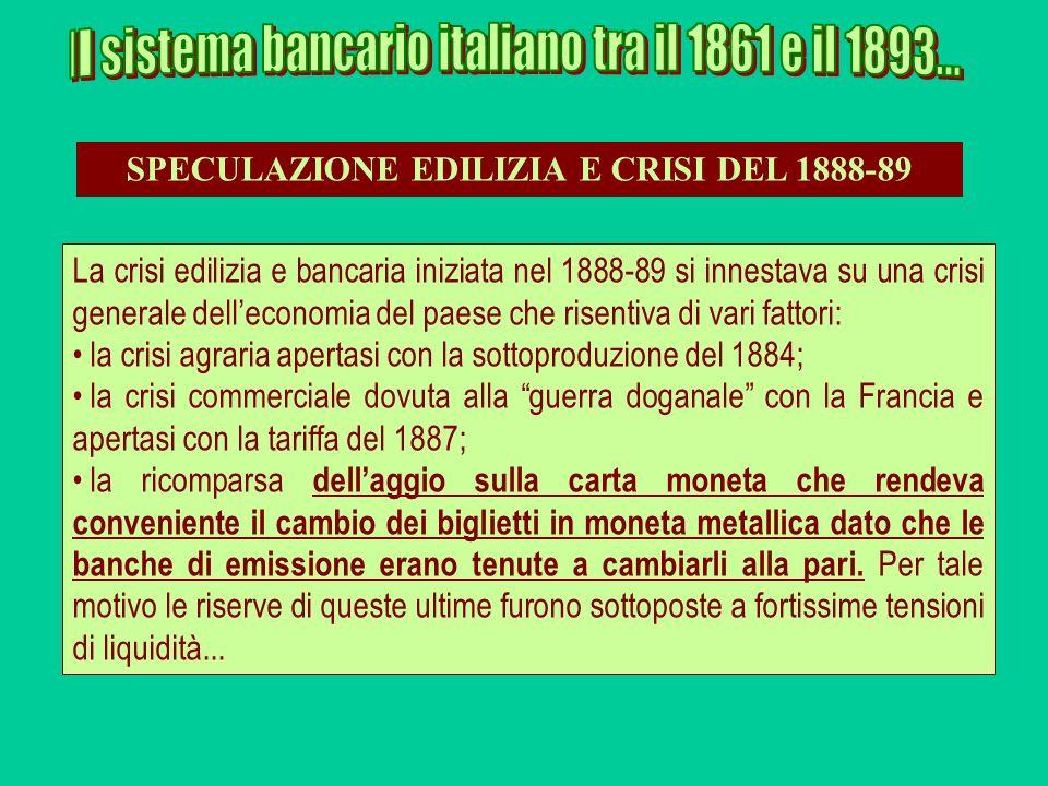 SPECULAZIONE EDILIZIA E CRISI DEL 1888-89