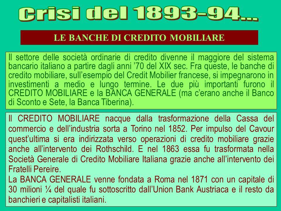 LE BANCHE DI CREDITO MOBILIARE