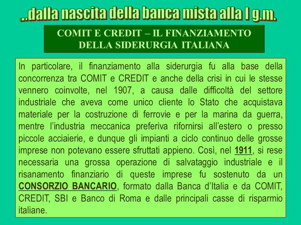 COMIT E CREDIT – IL FINANZIAMENTO DELLA SIDERURGIA ITALIANA