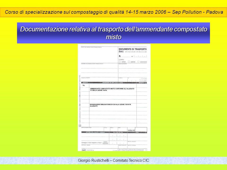 Documentazione relativa al trasporto dell'ammendante compostato misto