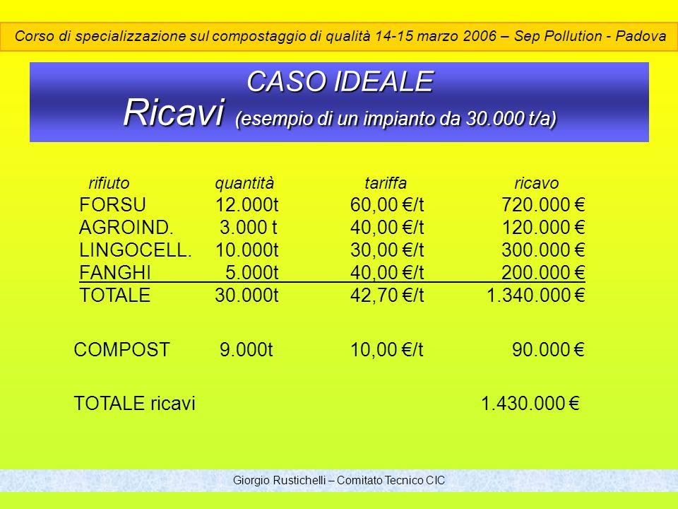 CASO IDEALE Ricavi (esempio di un impianto da 30.000 t/a)