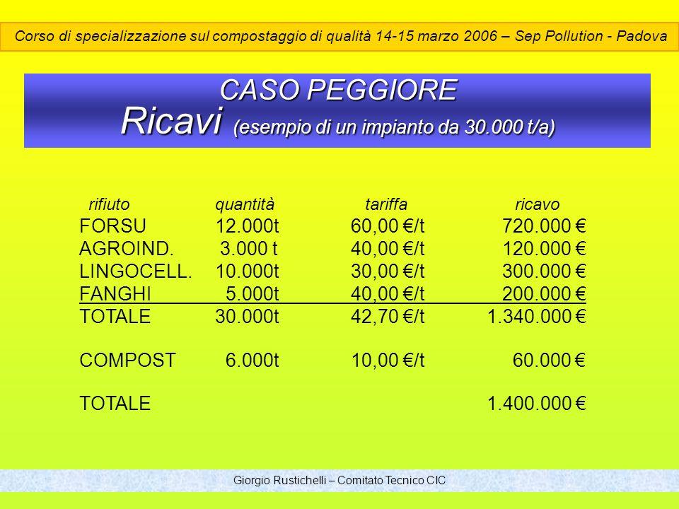 CASO PEGGIORE Ricavi (esempio di un impianto da 30.000 t/a)