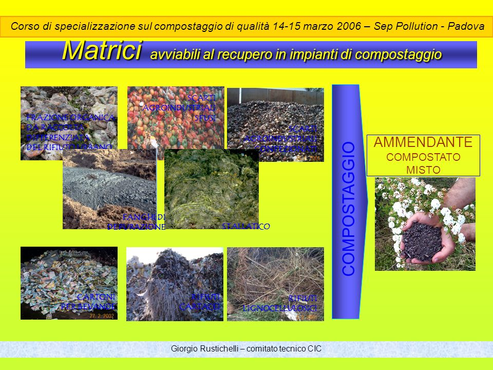 Matrici avviabili al recupero in impianti di compostaggio