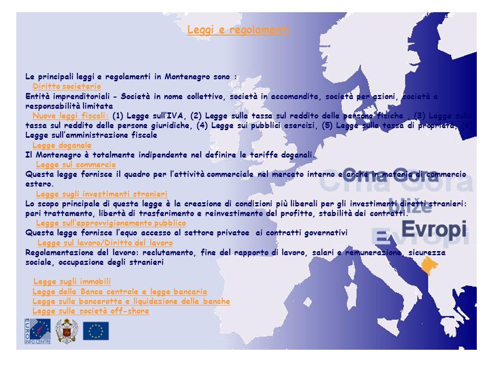 Leggi e regolamenti Le principali leggi e regolamenti in Montenegro sono : Diritto societario.