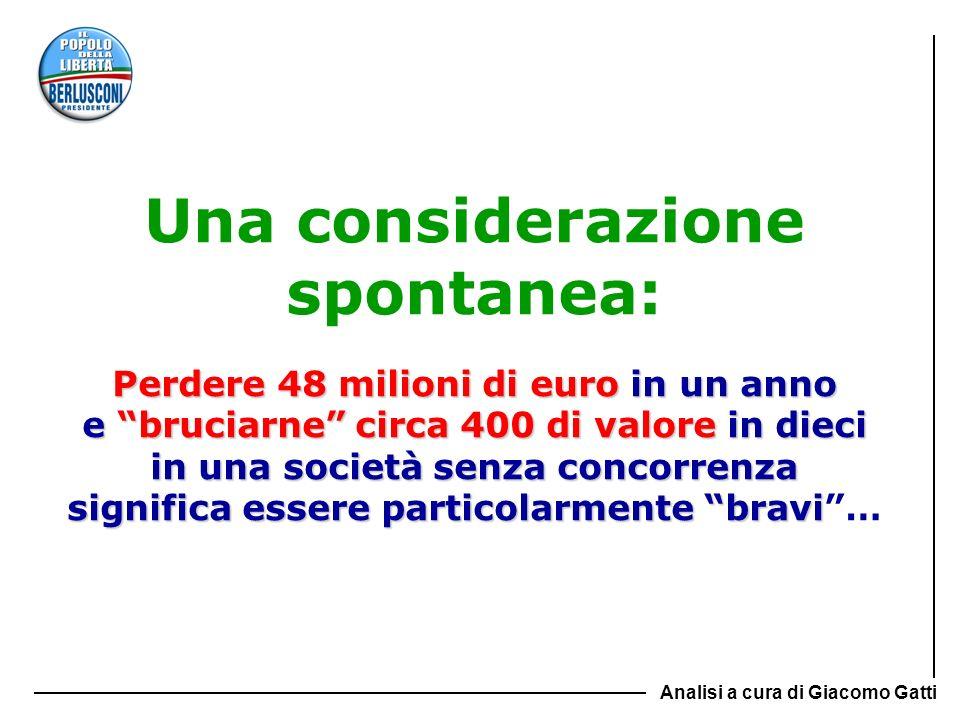 Una considerazione spontanea: Perdere 48 milioni di euro in un anno e bruciarne circa 400 di valore in dieci in una società senza concorrenza significa essere particolarmente bravi …